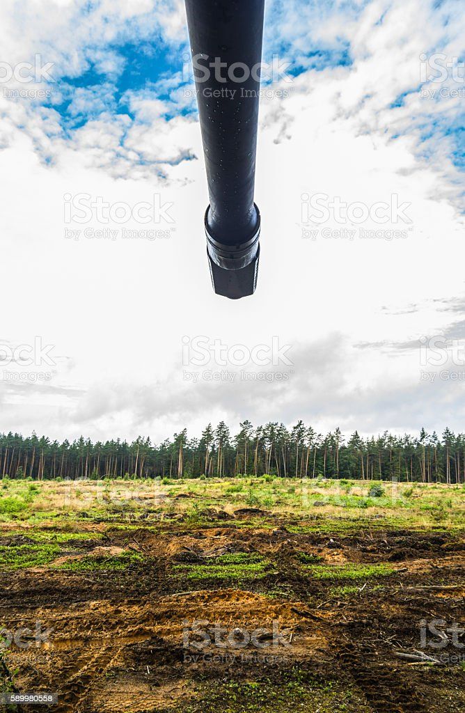cannon of a german armoured howitzer stock photo