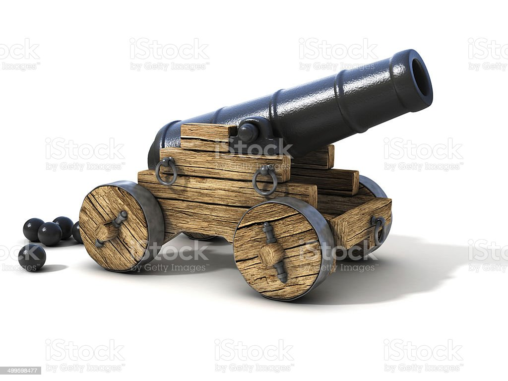cannon on a white background stock photo