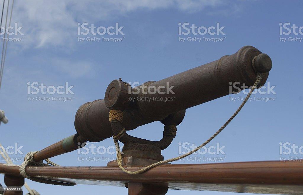 Cannon on Historic Sailing Ship royalty-free stock photo