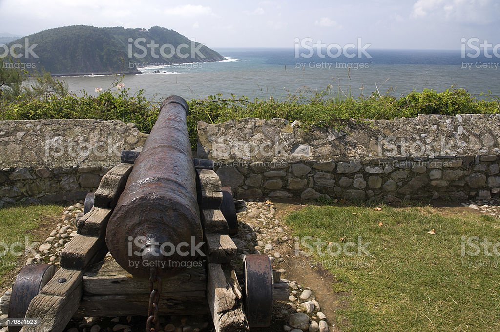 Cannon on the hill in Ribadesella, Spain royalty-free stock photo