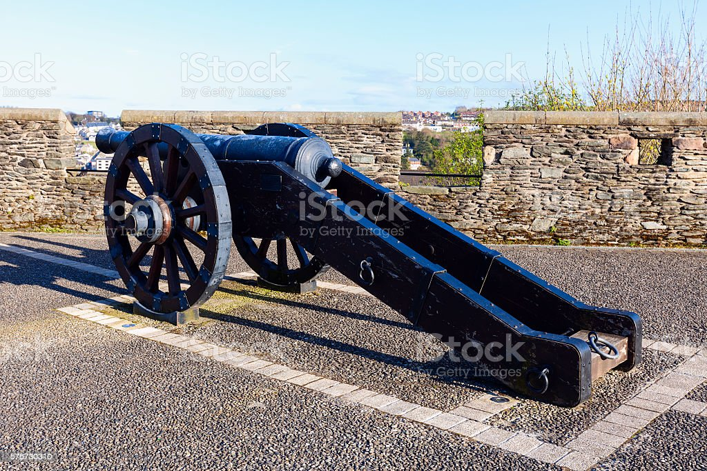 Cannon on the walls of Derry stock photo