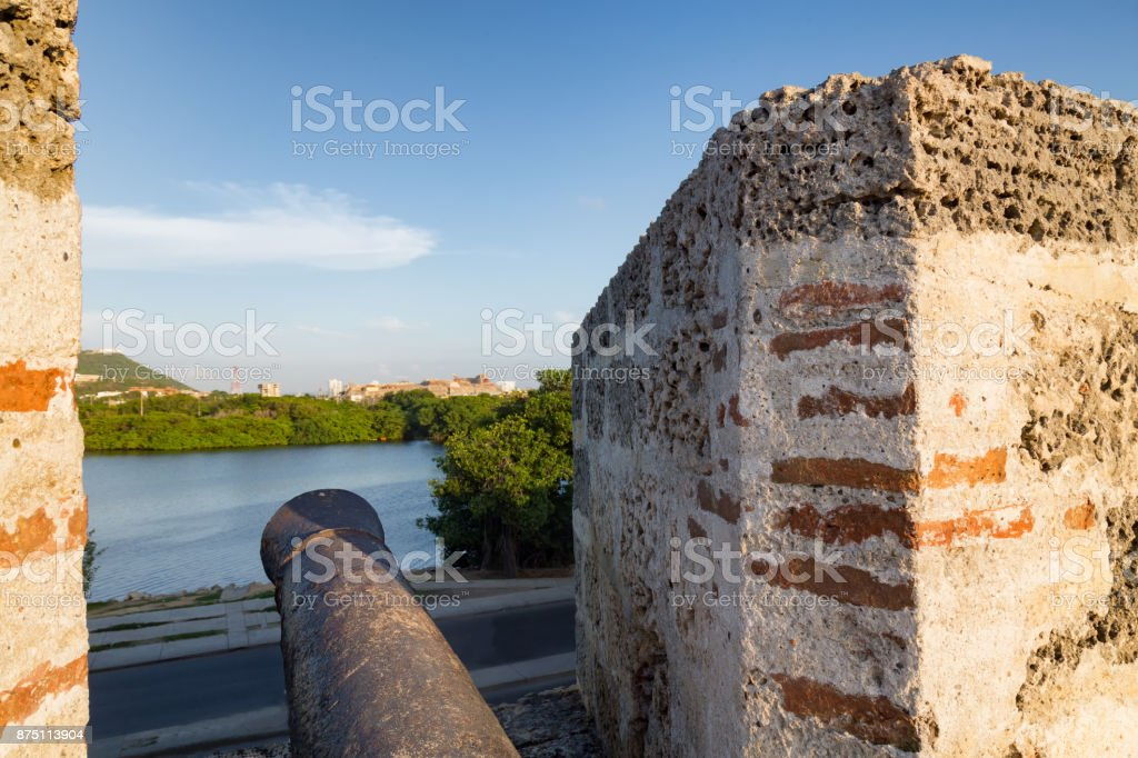 Cannon peering out from a Turret stock photo