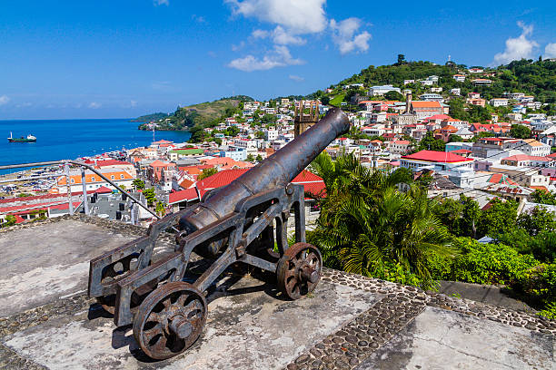 Cannon pointed to St. George's, Grenada W.I. stock photo