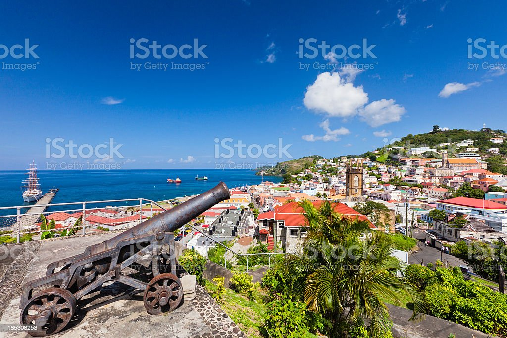 Cannon pointed to St. George's, Grenada W.I. royalty-free stock photo