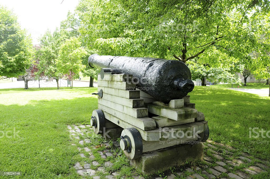 cannon weapon at park stock photo
