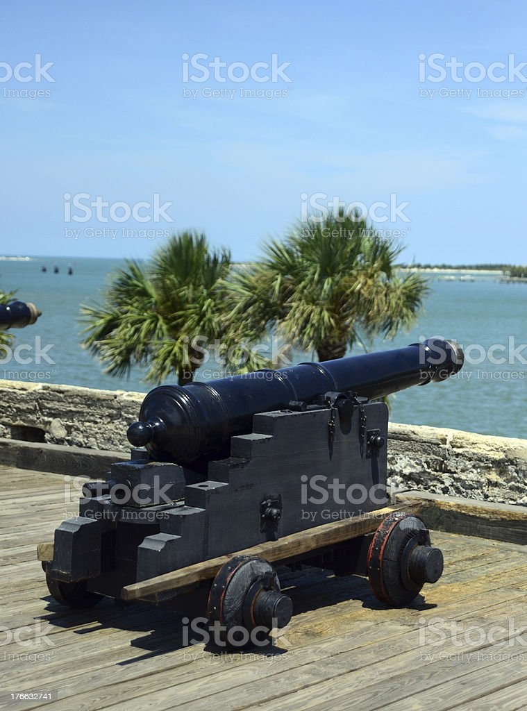 cannons and ocean at Castillo de San Marcos fort royalty-free stock photo