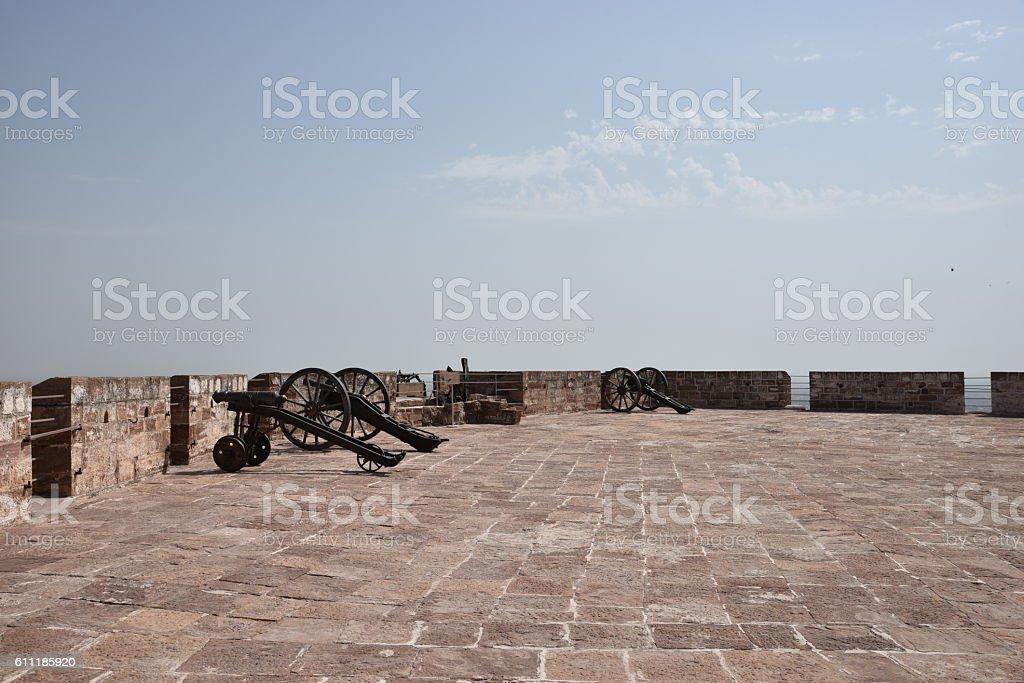 Cannons at Mehrangarh Fort Jodhpur stock photo