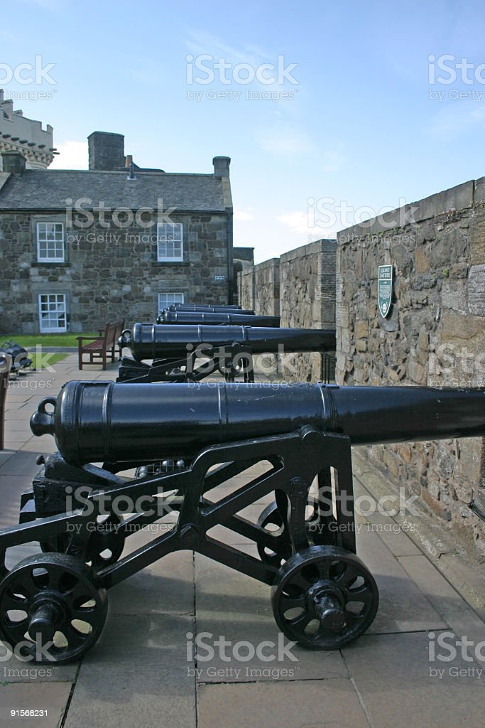 Cannons at Stirling Castle in Scotland stock photo