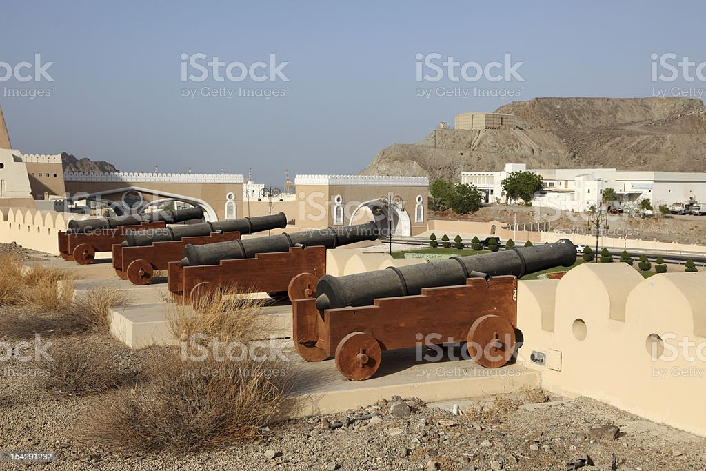 Cannons at the gate to Muttrah, Oman stock photo