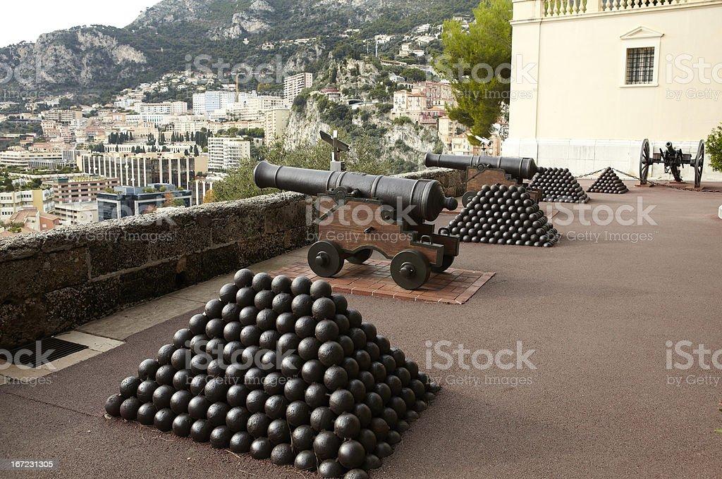 Cannons in Monte-Carlo stock photo