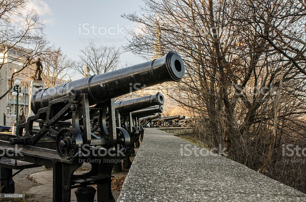 Cannons in Montmorency Park stock photo