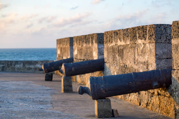 cannons in the afternoon - cartagena museum stock photos and pictures