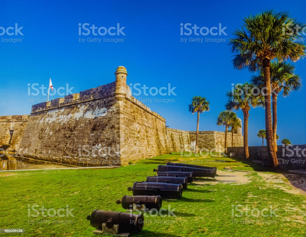Cannons line the front of Castillo De San Marcos National Monument, Florida, (P) zbiór zdjęć royalty-free