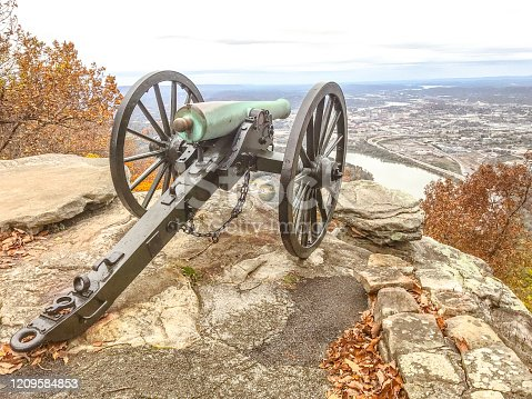 A cannon stands looking out over the city of Chattanooga, Tennessee. Lookout Mountain was the site of a great battle during the Civil War. This cannon stands as a reminder of days gone by.