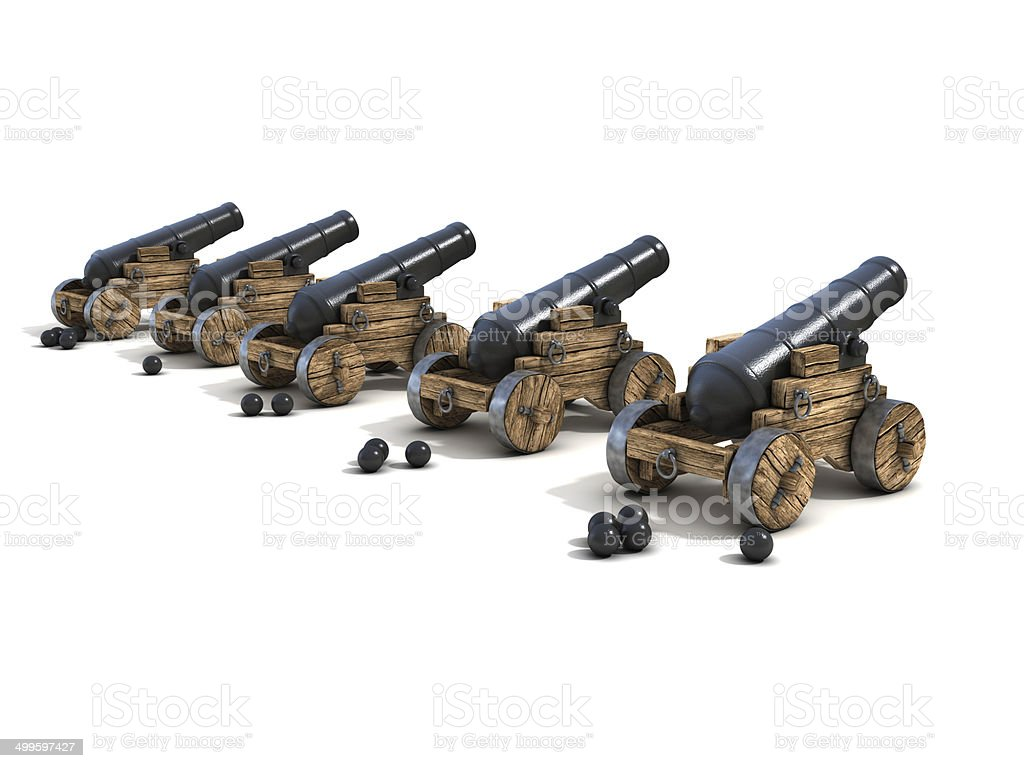 cannons on a white background stock photo