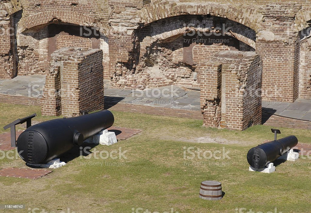 Cannons on display at Fort Sumter National Monument stock photo