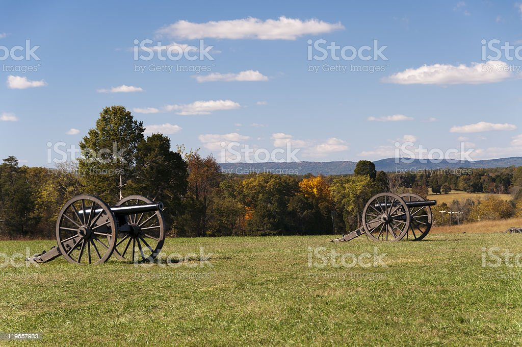 Cannons on the Manassas National Battlefield, Virginia stock photo