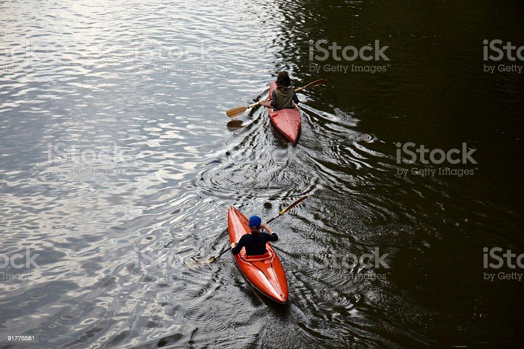 Canoe along the river royalty-free stock photo