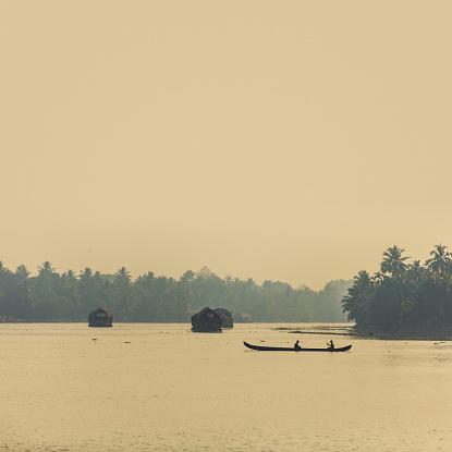 canoe and houseboats in Kerala, India