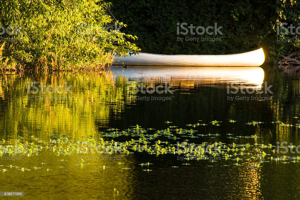 Canoe and river stock photo