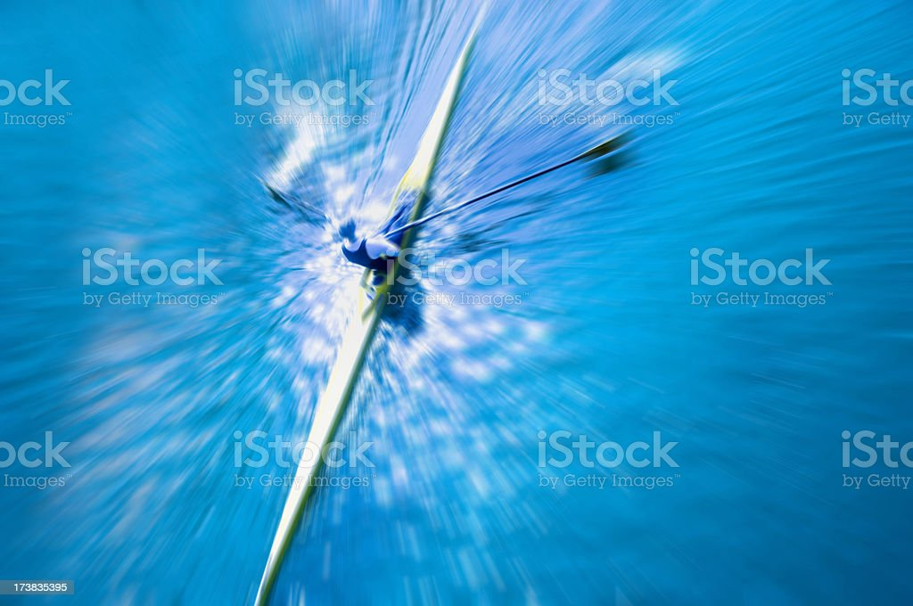 Canoe and Rower Zoom Burst royalty-free stock photo