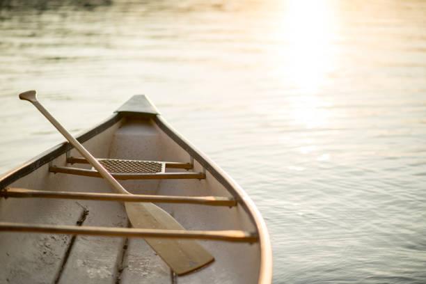 Canoe at Sunset stock photo