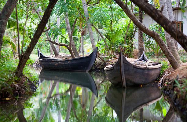 Canoe boats on backwaters of Kerala State, India stock photo