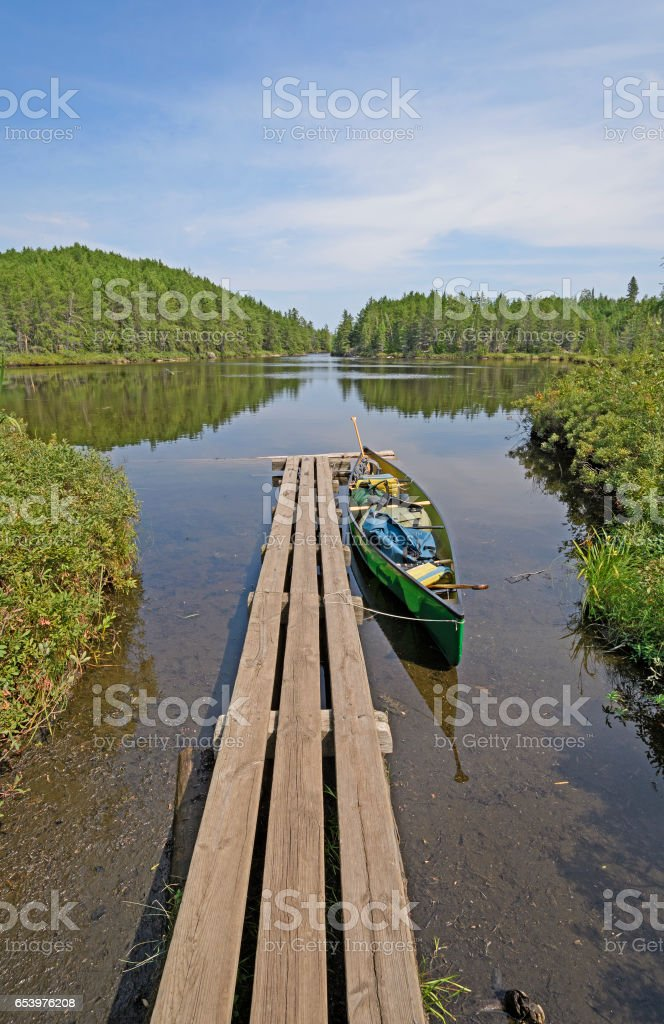 Canoe Dock in the Wilds stock photo