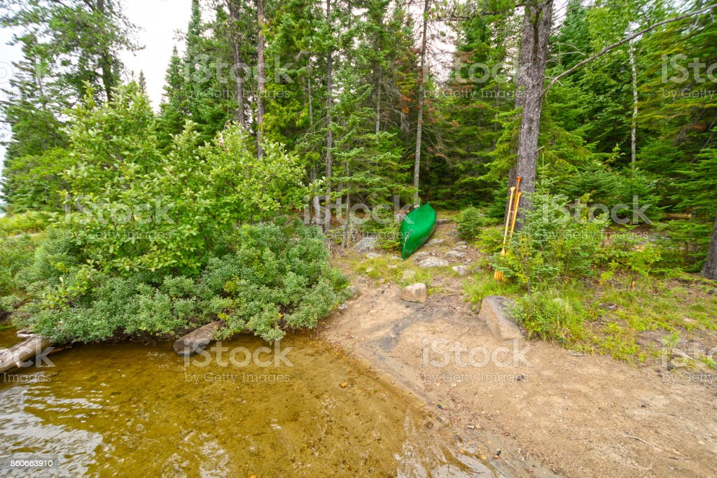 Canoe in a North Woods Campsite stock photo