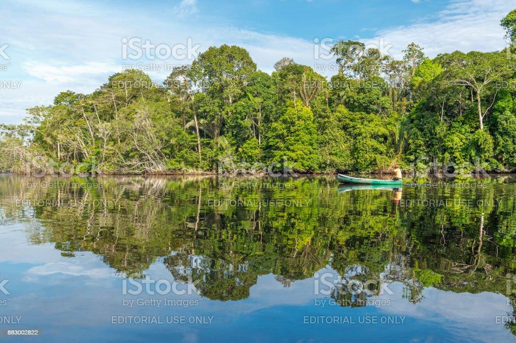 Canoe in the Amazon River stock photo