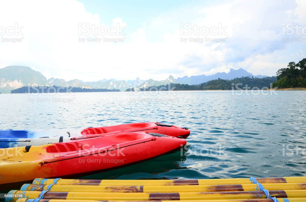 Canoe in the damn stock photo