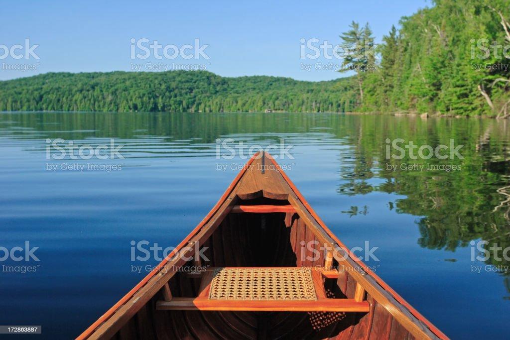 Canoe in the Morning Sun stock photo