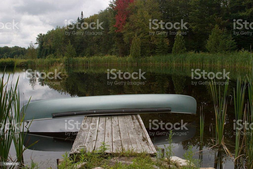 Canoe on a Dock royalty-free stock photo