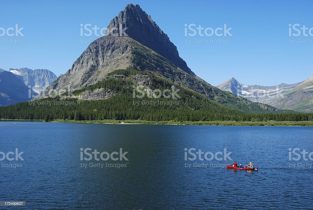 Canoe on a Mountain Lake royalty-free stock photo