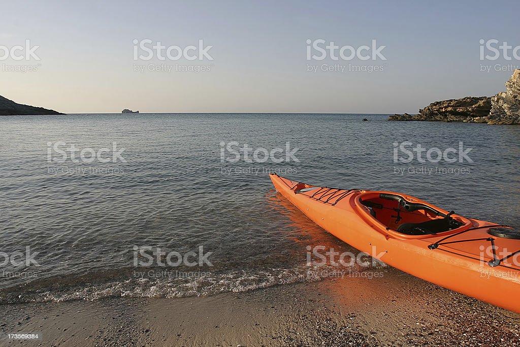 Canoe on beach royalty-free stock photo