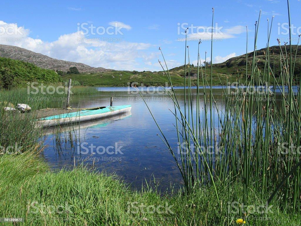 Canoe on inland lake stock photo