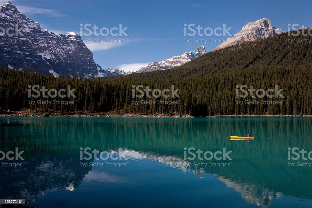 Canoe on Moraine Lake, Alberta, Canada royalty-free stock photo