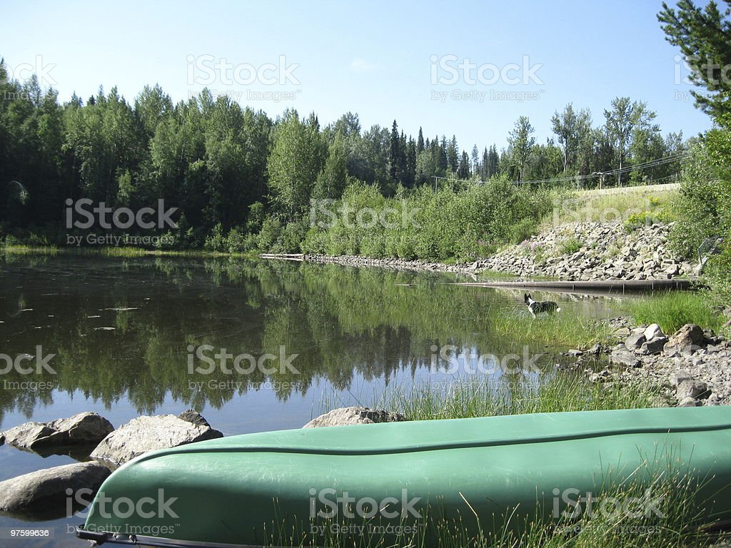 Canoe on shore royalty-free stock photo