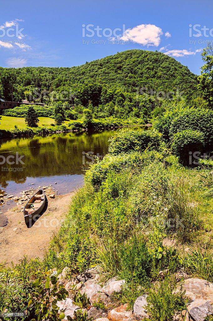 Canoe on the Beach stock photo