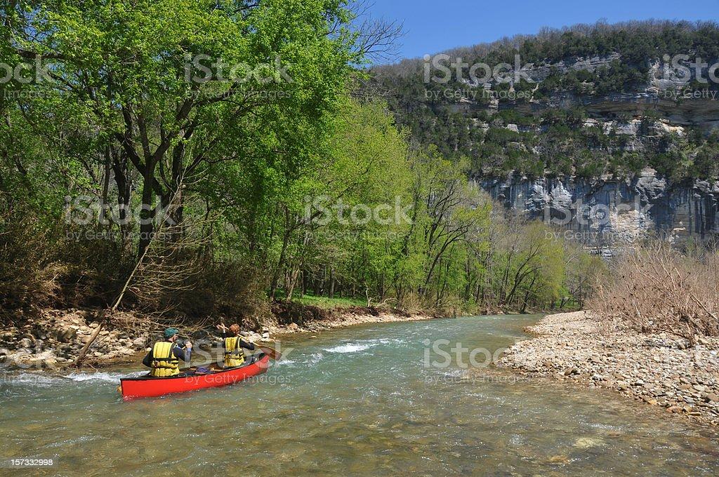 Canoe on the Buffalo River stock photo