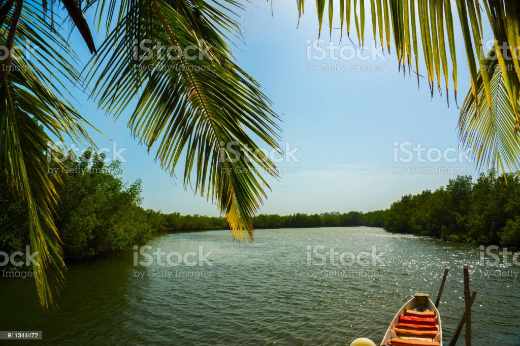 A canoe on the River Gambia, Africa stock photo