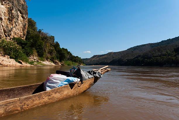 Canoe on Tsiribihina river stock photo