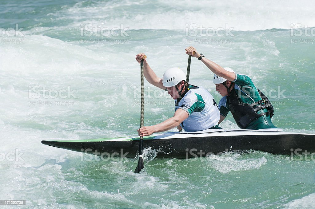 Canoe on whitewater race stock photo