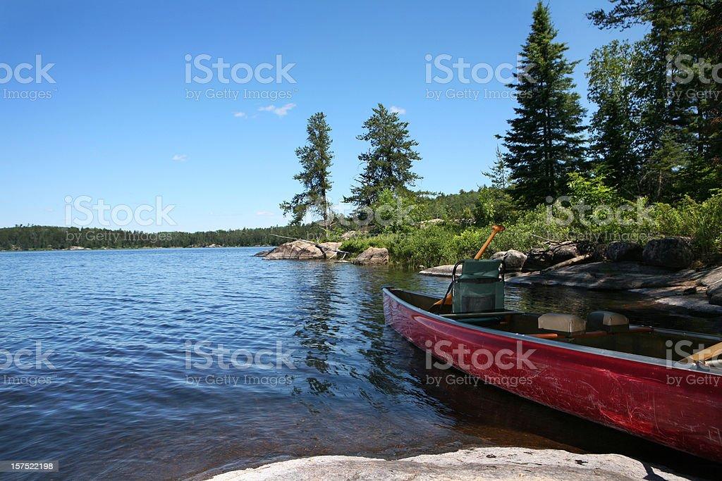 Canoe on Wilderness Lake stock photo