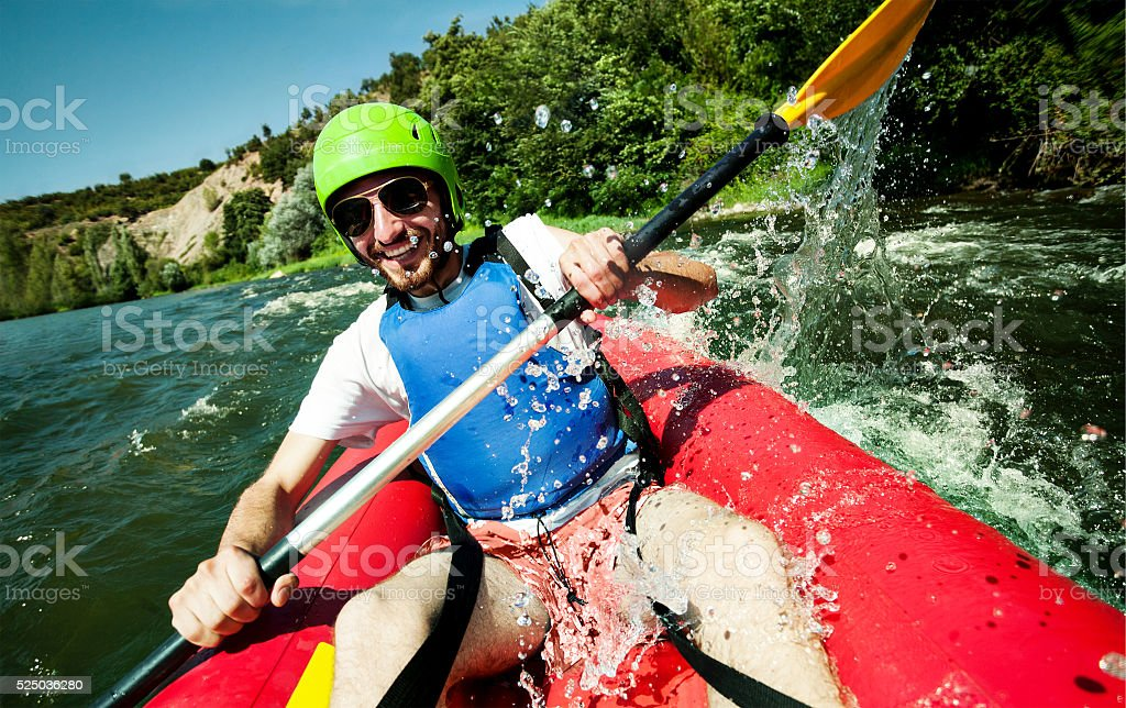 Canoe rafting river fun stock photo