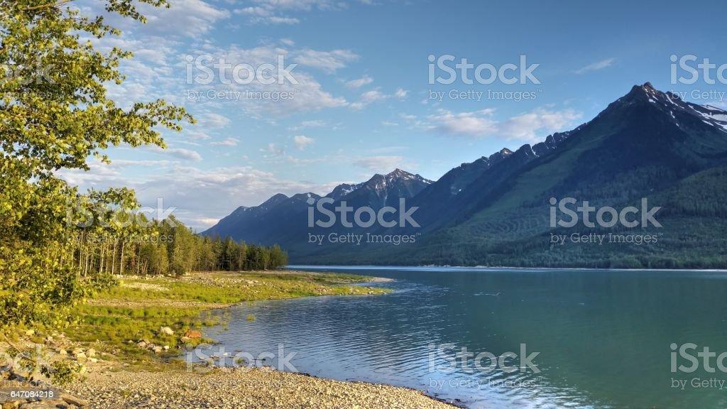 Canoe Reach, Kinbasket Lake with Mount Thompson, Valemount, B.C. stock photo
