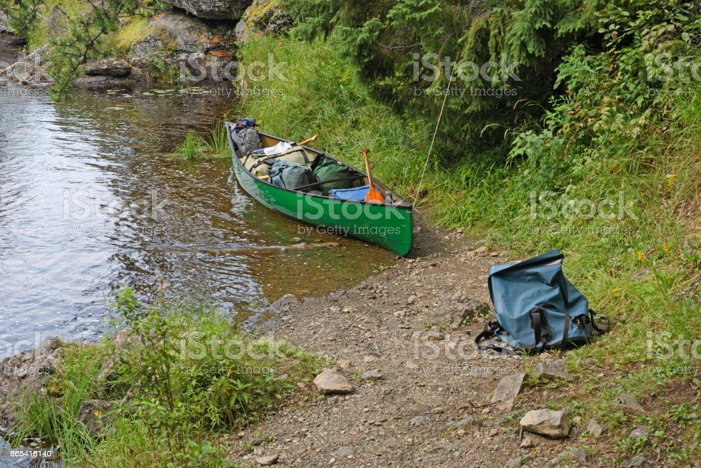 Canoe Ready to Head out stock photo