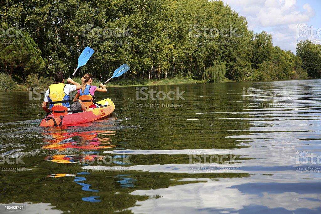 Canoe ride on sunny day stock photo