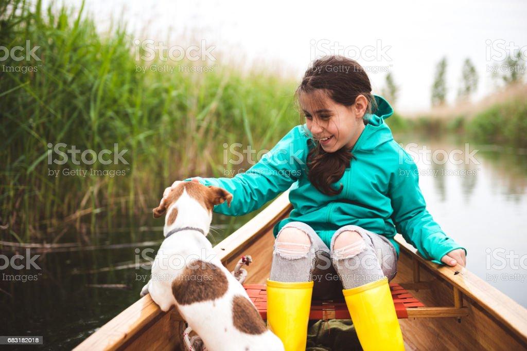 내 아이 함께 카누 타고 royalty-free 스톡 사진