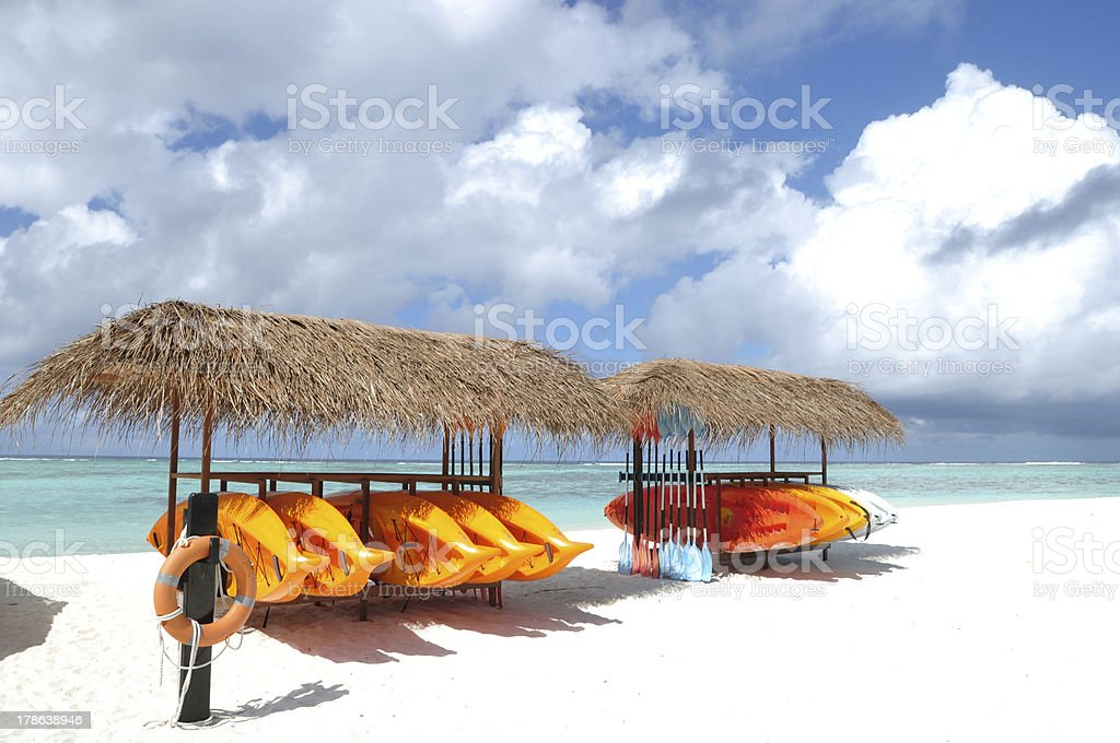 Canoe Shelf on the Beach royalty-free stock photo